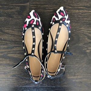 BCBGeneration Shoes - BCBG Studded Punk Leopard Flats Size 6